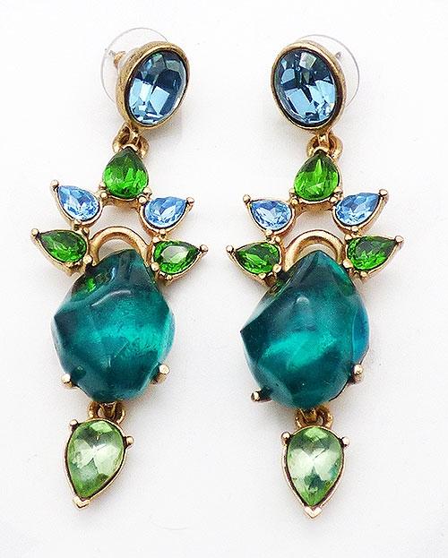 Newly Added Oscar de la Renta Teal Blue Green Earrings