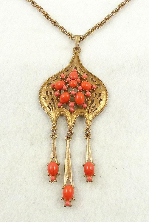 Necklaces - Orange Glass Cabochon Gold Pendant