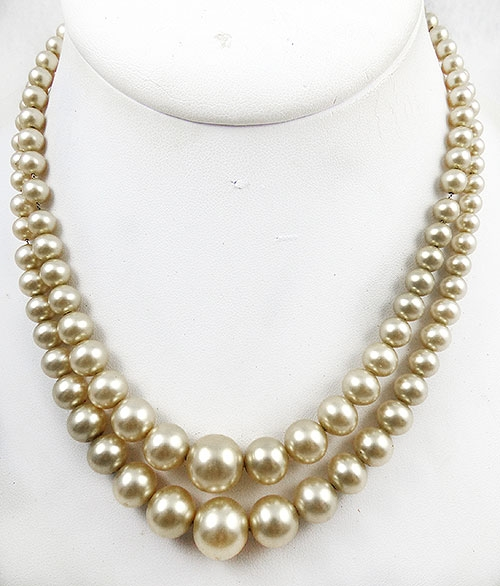 Newly Added Art Deco Pearl and Rhinestone Clasp Necklace