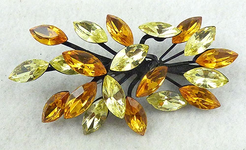 Autumn Fall Colors Jewelry - Japanned Topaz and Yellow Rhinestone Brooch