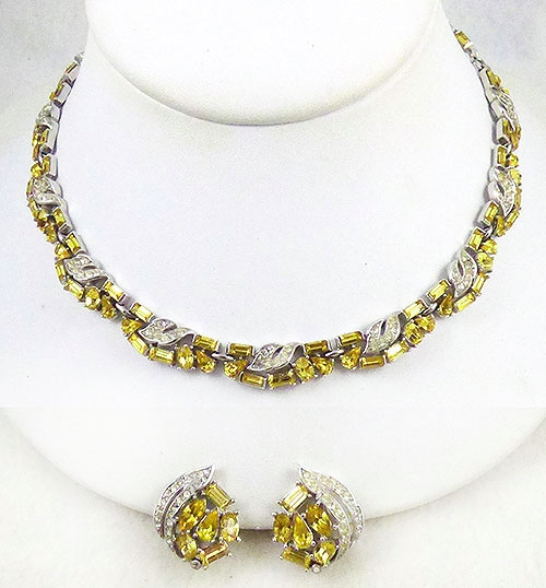 Newly Added Trifari Jonquil Rhinestone Necklace Earrings Set