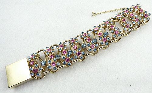 Bracelets - Pink and Blue Pastel Rhinestone Bracelet