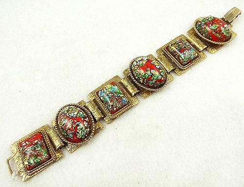 Bracelets - Red Foil Art Glass Confetti Stone Bracelet