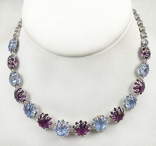 Newly Added Amethyst and Light Blue Rhinestone Necklace