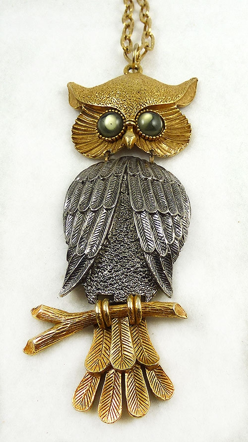 Figural Jewelry - Birds & Fish - Silver and Gold Massive Owl Pendant Necklace