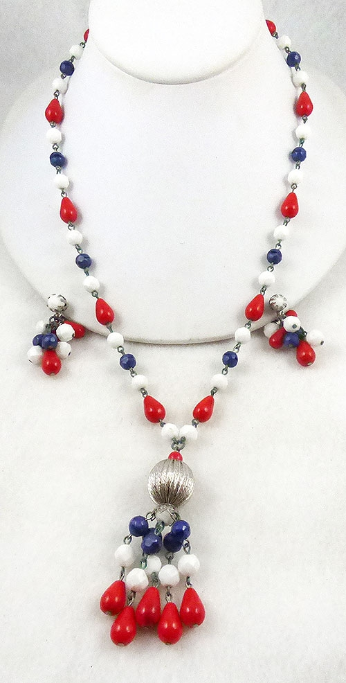 Patriotic Jewelry - Bi-centennial Patriotic Beads Tassel Necklace Set