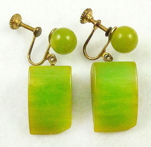 Colors for Spring Summer 2019 - Lemon-Lime Bakelite Earrings