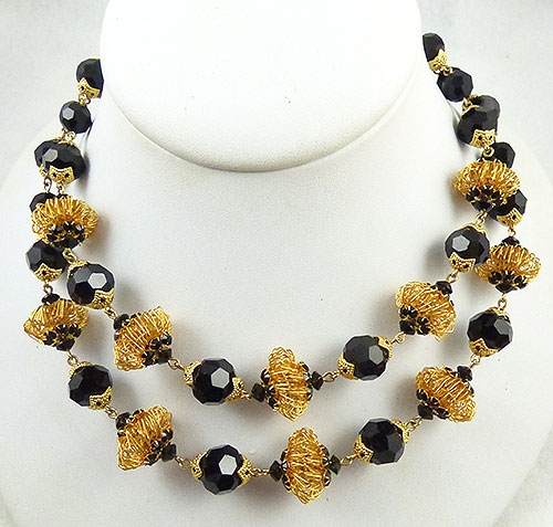 Vendome - Vendor Black Glass and Gold Bead Necklace