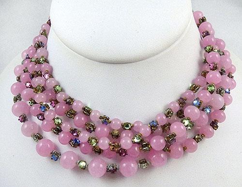Haskell, Miriam - Miriam Haskel Pink Bead Rose Montee Necklace
