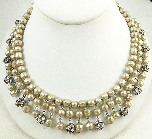 Newly Added Drippy Faux Pearl Rhinestone Bead Necklace