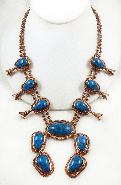 Newly Added Copper Faux Turquoise Squash Blossom Necklace