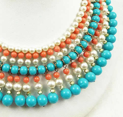 b27ecd1980564 Japan Turquoise Coral Pearl Bead Necklace - Garden Party Collection ...