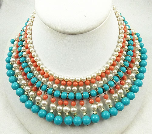 Japan - Japan Turquoise Coral Pearl Bead Necklace
