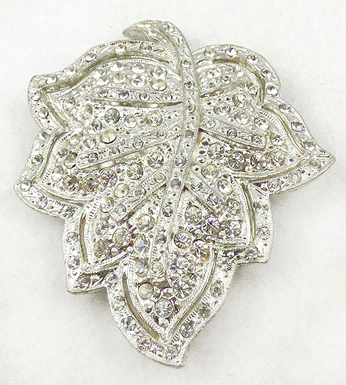 Dress & Fur Clips - Silver Rhinestone Leaf Dress Clip