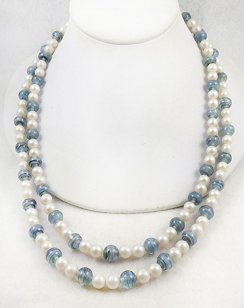Necklaces - Blue Bead and Pearl Double Strand Necklace