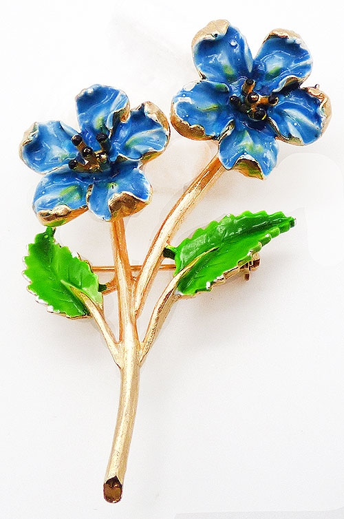 Brooches - Blue Enameled Trembling Flowers Brooch