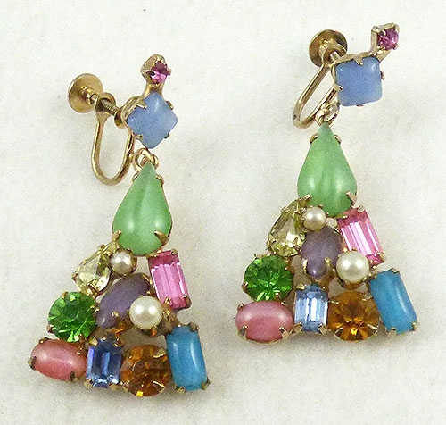 Spring Pastel Jewelry - Rhinestone and Moonstone Triangle Dangle Earrings