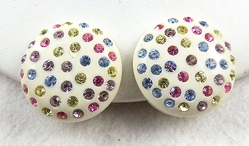 Spring Pastel Jewelry - Off-White Plastic Pastel Rhinestone Earrings