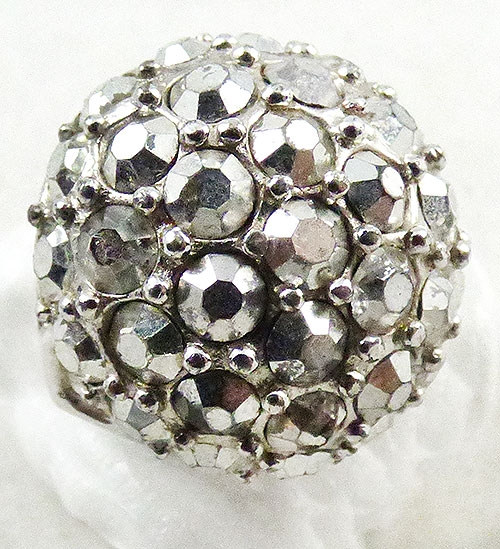 Newly Added Domed Silver Rhinestone Cocktail Ring