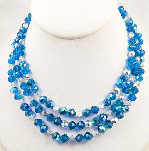 Newly Added Cerulean Blue Crystal Triple Strand Necklace