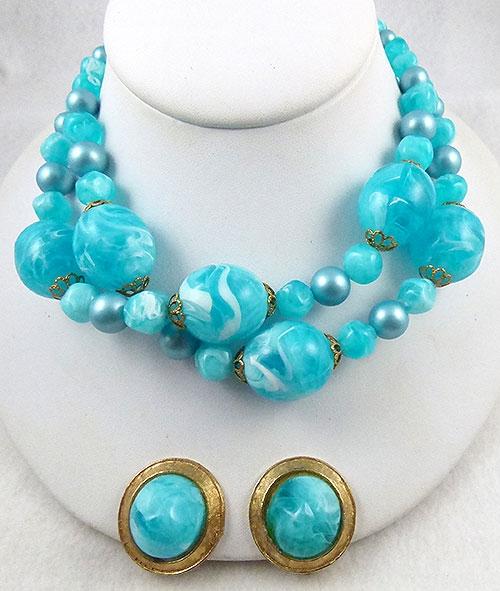 Sets & Parures - Aqua Swirl Beads Necklace Set