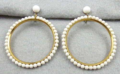 Trend 2020-2021: Circles Hoops and Tubes - White Bead Hoop Earrings