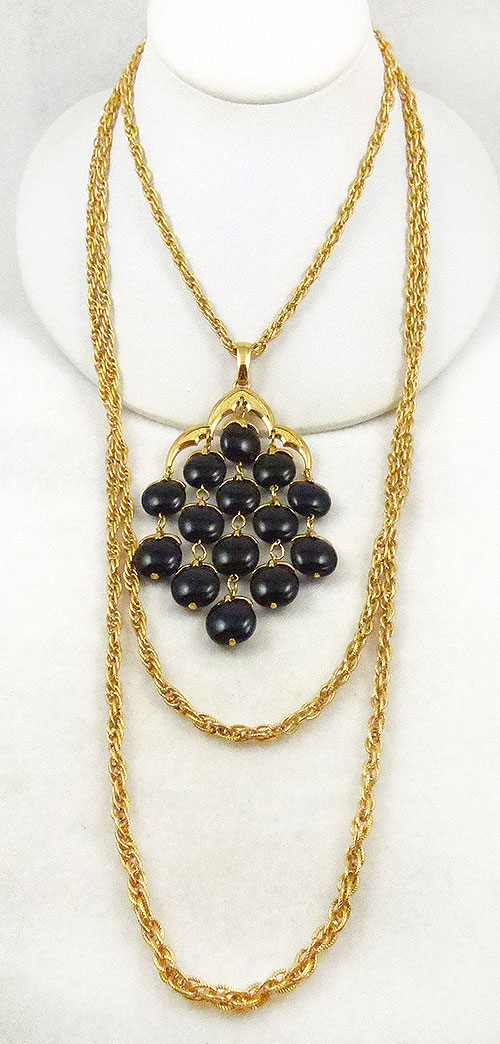 Newly Added Trifari Black Lucite Waterfall Necklace