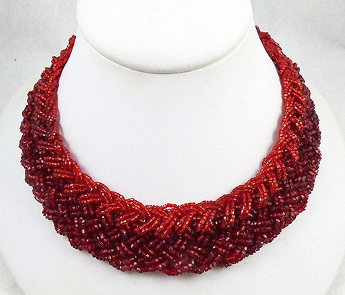 Colors for Fall-Winter 2018-2019 - Braided Red Seed Bead Woven Necklace