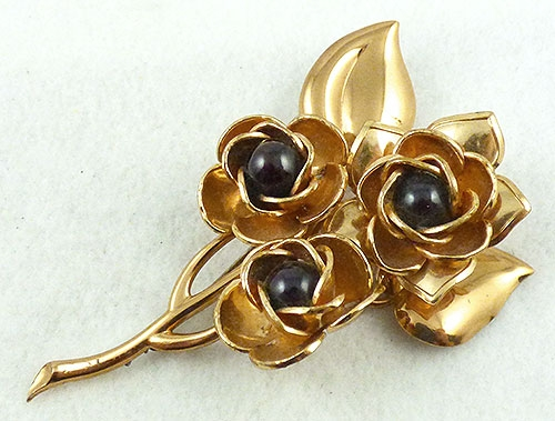 Brooches - Retro Gold Roses Floral Brooch