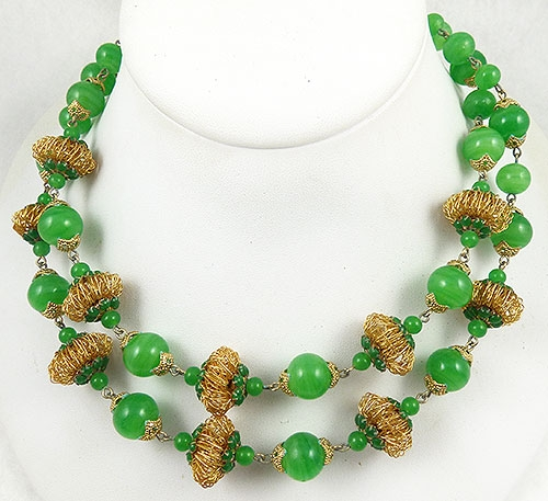 Necklaces - Vendome Green Glass Bead Double Necklace