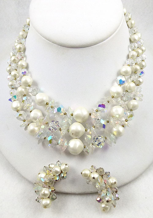 Laguna - Laguna Pearl And Crystal Aurora Necklace Set