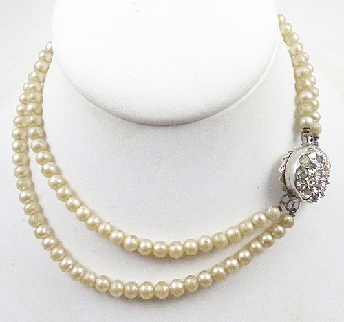 Newly Added Double Strand Faux Pearl Reversible Clasp Necklace