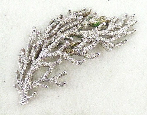 Newly Added Trifari Silver Seaweed Brooch