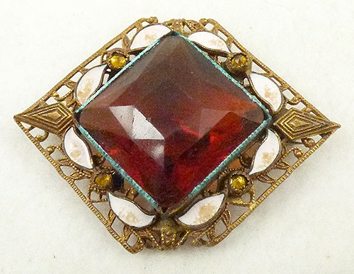 Newly Added Czech Amber Glass Fillgree Brooch
