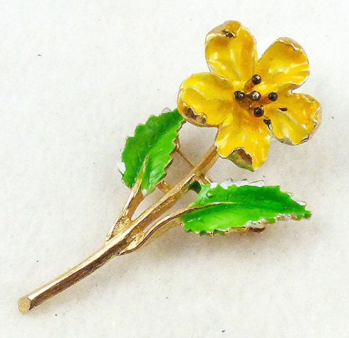 Brooches - Yellow Trembler Flower Brooch