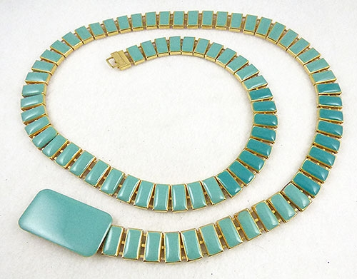 Belts & Buckles - Aqua Enameled Segments Ladies Belt