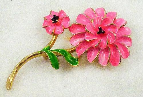 Newly Added Pink Enamel Trembler Flower Brooch