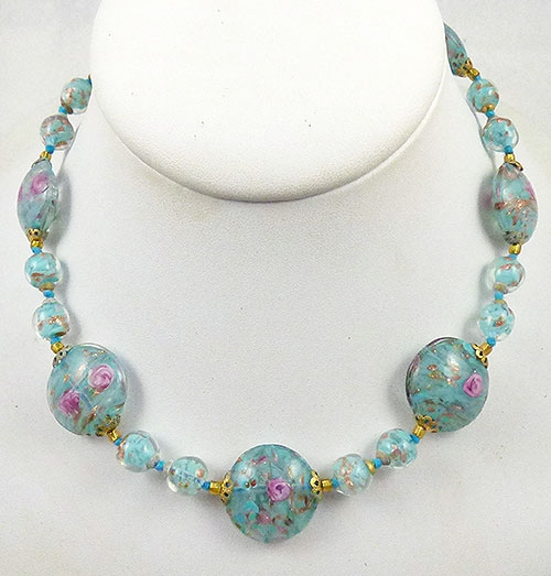 Newly Added Aqua Venetian Glass Bead Necklace