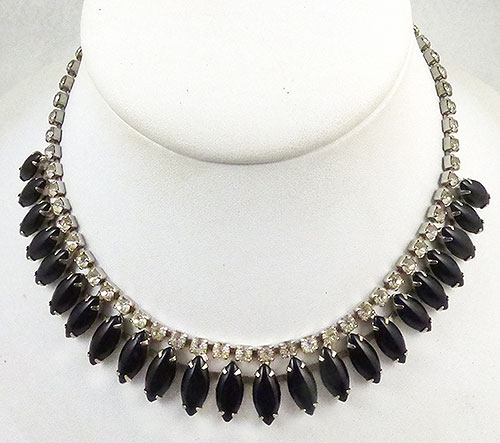 Newly Added Black Navette Rhinestone Necklace