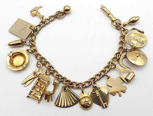 Newly Added Coro Gold Tone Charm Bracelet