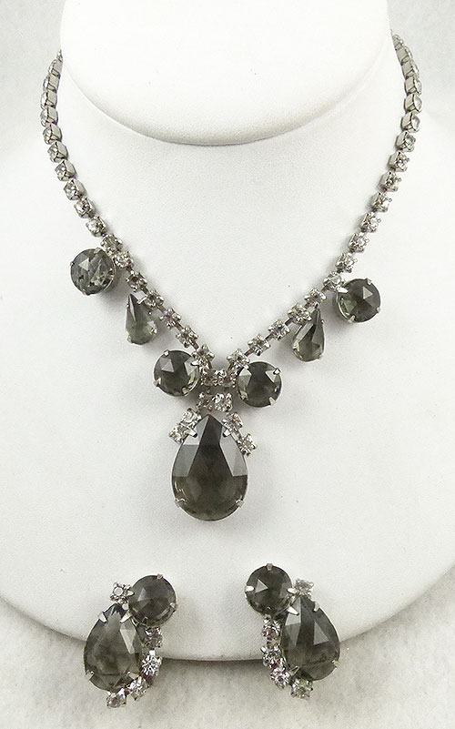 Newly Added Black Diamond Rhinestone Necklace Set