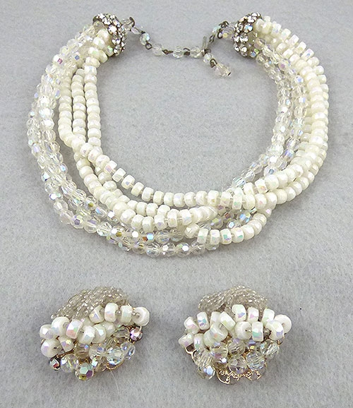 Caviness, Alice - Alice Caviness White and Crystal Bead Necklace Set