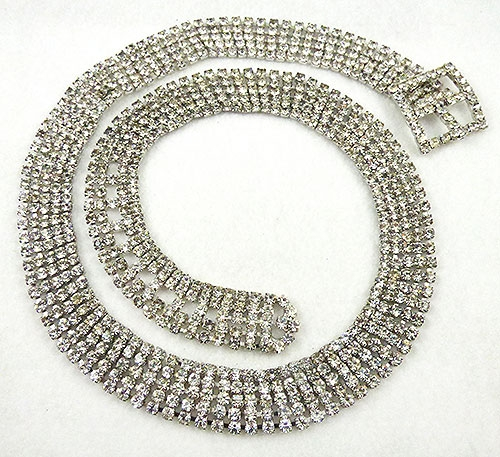 Belts & Buckles - Vintage Clear Rhinestone Belt