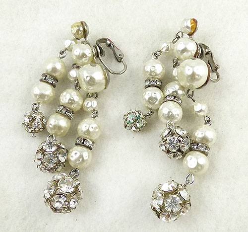 Earrings - Faux Pearl Rhinestone Bead Earrings