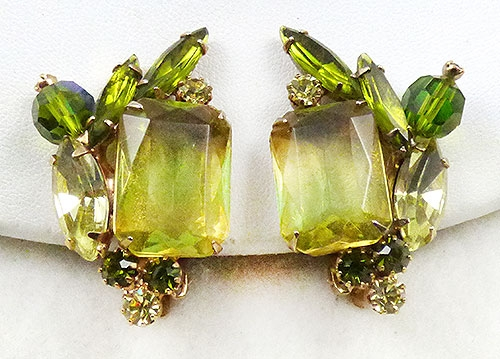 Newly Added Citrine and Peridot Rhinestone Earrings