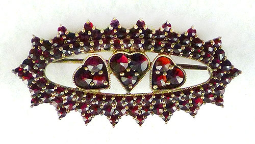 Brooches - Bohemian Garnets Triple Hearts Brooch