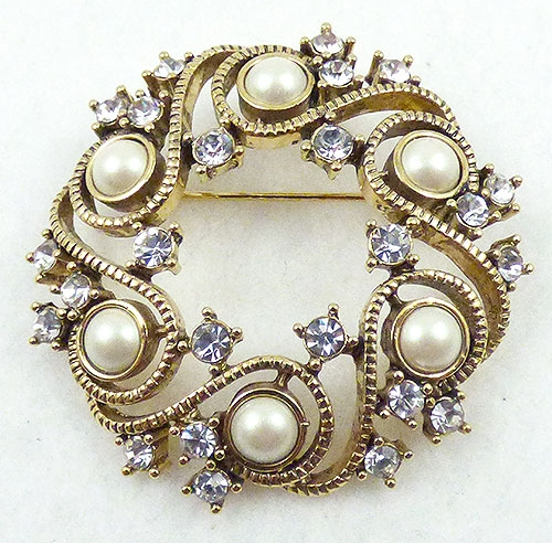 Newly Added Monet Pearl Rhinestone Wreath Brooch