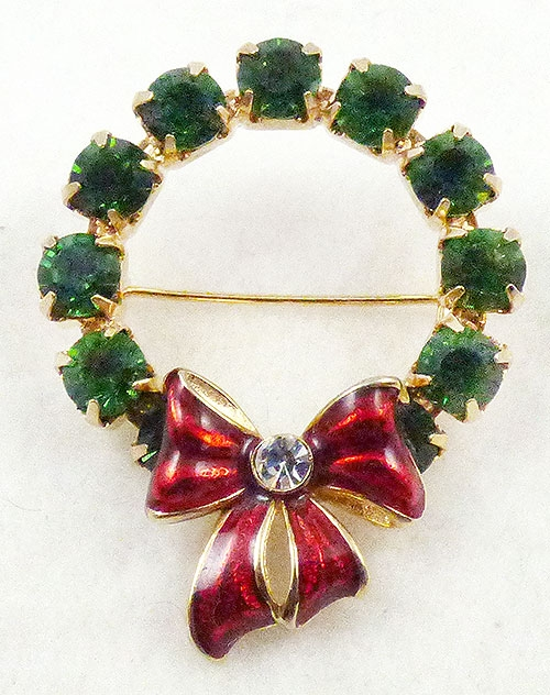 Newly Added Green Rhinestone Christmas Wreath Brooch