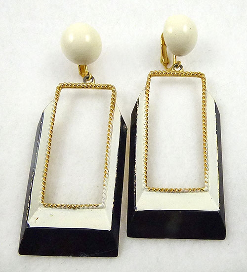 Newly Added Black and White Enamel Rectangle Earrings