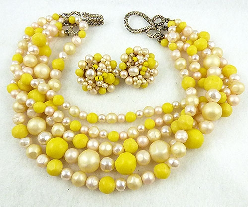 Sets & Parures - Yellow Bead and Pearl Necklace Set